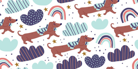 Vector seamless pattern with cute dachshund dogs