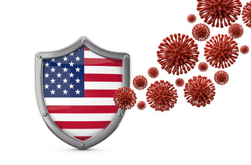 USA flag shield protection against a virus bacteria. 3D Render