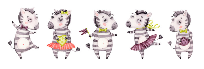 Cute baby zebra portrait set. Watercolor nursery cartoon jungle animals horse. Adorable Nurseries safari set isolated on white background, banner. Hand painted watercolour baby zebra clip art