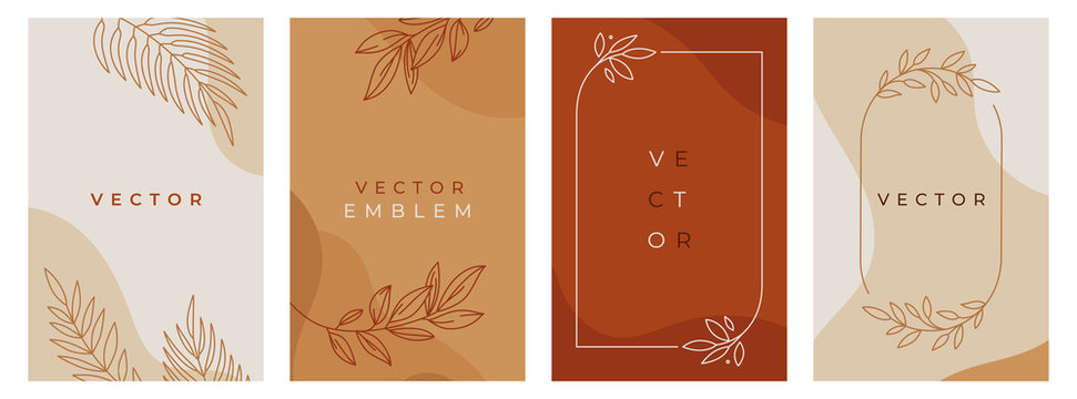 Vector design templates in simple modern style with copy space for text, flowers and leaves - wedding invitation backgrounds and frames, social media stories wallpapers, luxury stationery