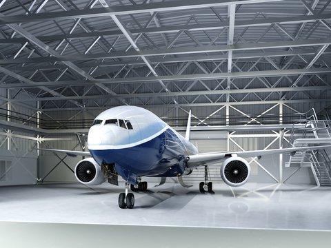 Modern passenger airliner in the hangar.