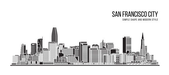 Cityscape Building Abstract Simple shape and modern style art Vector design - San francisco city
