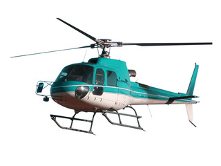 Poster Helicopter Turquoise color helicopter with hidden landing gear