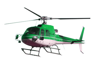 Foto op Plexiglas Helicopter Green helicopter isolated on white