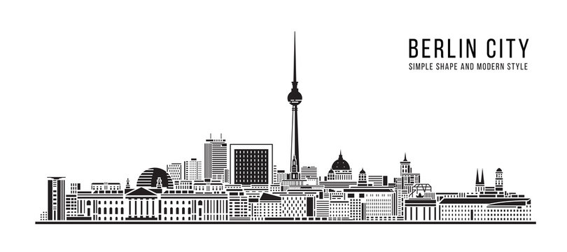 Cityscape Building Abstract Simple shape and modern style art Vector design - Berlin city
