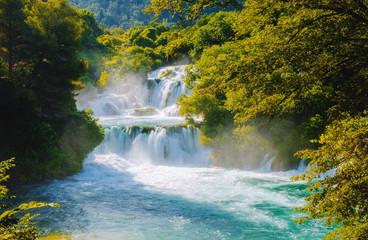 Wall Mural - Skradinski buk the most unusual waterfall in Krka National Park. Location place Sibenik city, Croatia.