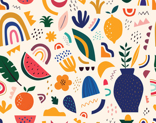 Fototapete - Seamless pattern. Decorative abstract illustration with colorful doodles. Hand-drawn modern pattern with spring flowers, leaves and abstract elements
