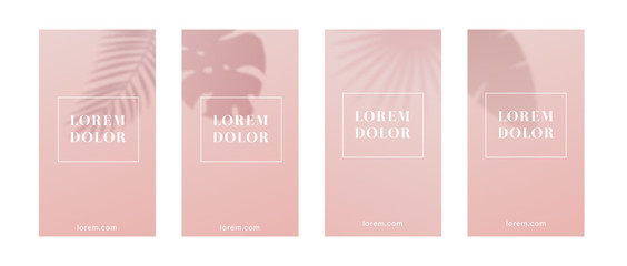 Pink mobile background or template with leaf shadow.