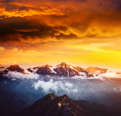 Wall Mural - Dramatic view of high ridge. Location Grossglockner high alpine road, Austria, Europe.