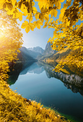 Wall Mural - Great azure alpine lake Vorderer Gosausee. Location place Gosau valley, Austrian alps.