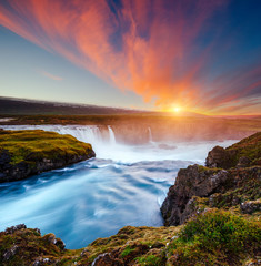 Wall Mural - Amazing view of powerful Godafoss cascade. Location Bardardalur valley, Iceland.