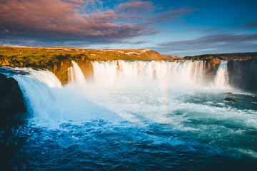 Wall Mural - Fantastic scene of powerful Godafoss cascade. Location place Bardardalur valley, Iceland, Europe.
