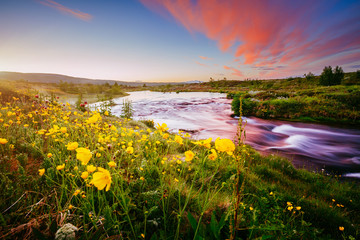 壁紙(ウォールミューラル) - Amazing view of river in morning light. Location place Geyser Park, Hvita river, Haukadalur valley area, Iceland, Europe.