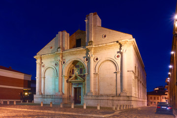 Wall Mural - Cathedral church of Rimini at night