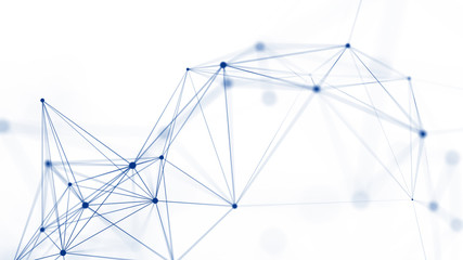 Polygonal white background with connecting dots and lines. Network connection structure. Plexus effect. 3d rendering.