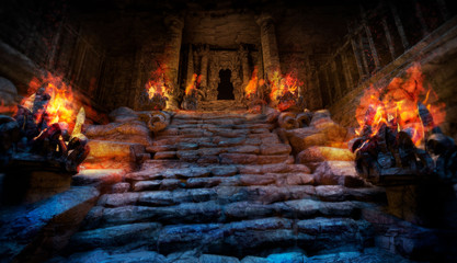 Foto op Plexiglas Bedehuis Mystical ancient temple with steps made of stone, on the sides of the stairs are altars with a bright red fire, the entrance to the temple is surrounded by columns, it is dark inside . 2D