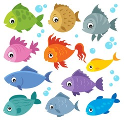 Fotorolgordijn Voor kinderen Stylized fishes theme set 2