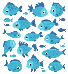 Fotorolgordijn Voor kinderen Stylized fishes theme set 3