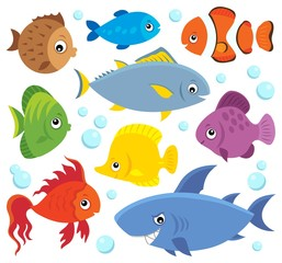 Fotorolgordijn Voor kinderen Stylized fishes theme set 4