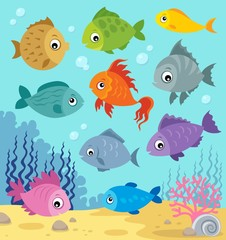 Fotorolgordijn Voor kinderen Stylized fishes topic image 6