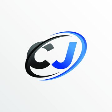 Initial Letters CJ Logo with Circle Swoosh Element