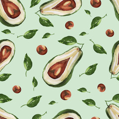 avocado pattern seamless plants vegetables vegetarianism healthy nutrition on light green background