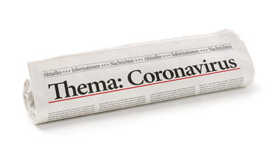 Door stickers Asia Country Zeitungsrolle mit der Überschrift Coronavirus
