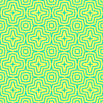 Vector geometric seamless pattern. Simple colorful texture with zig zag lines, stripes, chevron, crosses. Modern abstract geometry. Bright turquoise and yellow graphic background. Psychedelic design