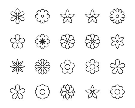set of flower icons, floral, spring