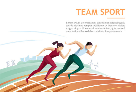 Team sport. Sport running and competition concept. Vector illustration