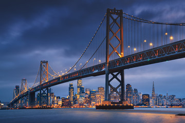 Wall Mural - San Francisco downtown with Oakland Bridge in foreground. California famous city SF. Travel destination USA