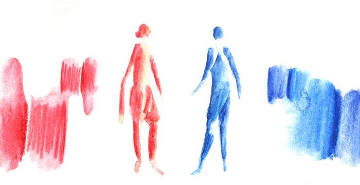 Gender, Mann und Frau, social distance, zwei abstrakte Figuren im Dialog, Austausch und Beziehung, Diskussion, Bildung von Gruppen und Kategorien, Status, Einteilung, Distanz und Abstand, Illustration