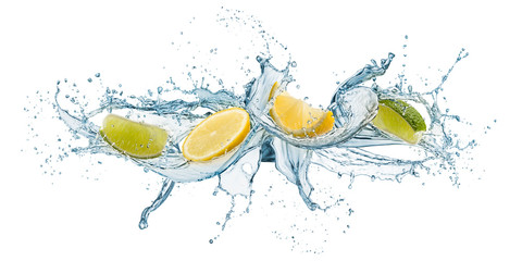 Printed roller blinds Splashing water splashing of water waves with lemon slices, isolated on white