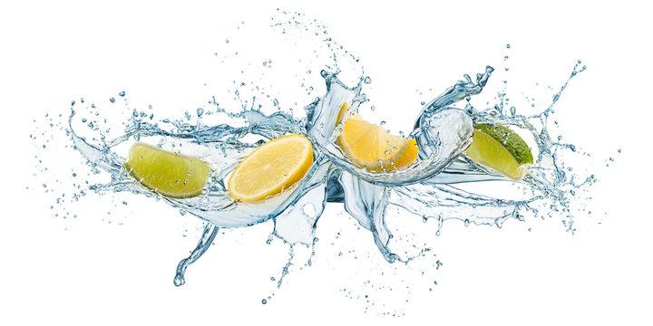 splashing of water waves with lemon slices, isolated on white