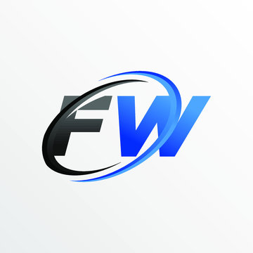 Initial Letters FW Logo with Circle Swoosh Element