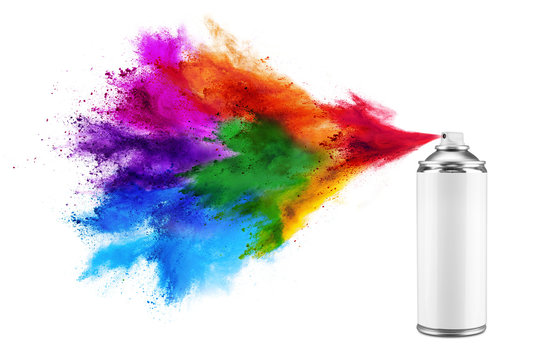 spray can spraying colorful rainbow holi paint color powder explosion isolated white background. Industry diy paintjob graffiti concept.