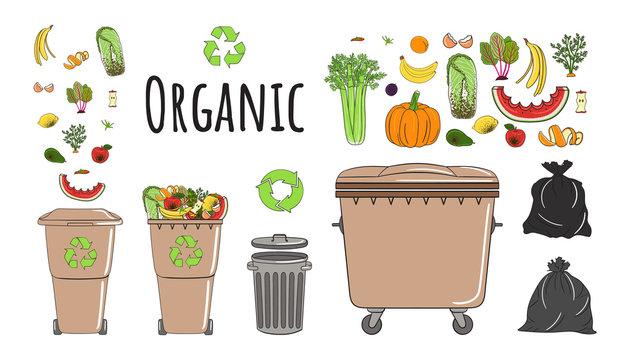 Set of garbage cans with organic garbage