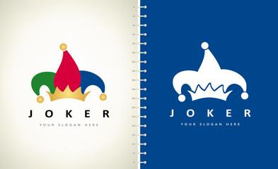 Jester hat logo. Joker costume. Carnival cap.