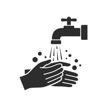 Hand washing with tap water vector icon