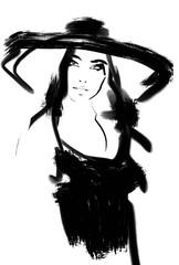 Photo sur Toile Art Studio Black and white fashion illustration. Vintage art. Hand drawn sketch