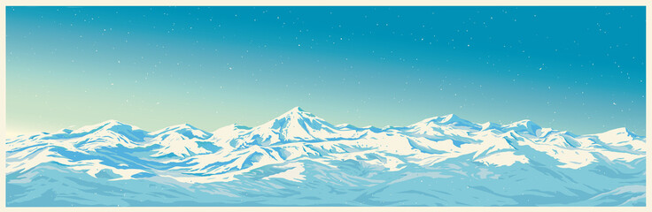 Mountain winter landscape with white peaks of mountains of illustration of a panoramic type.