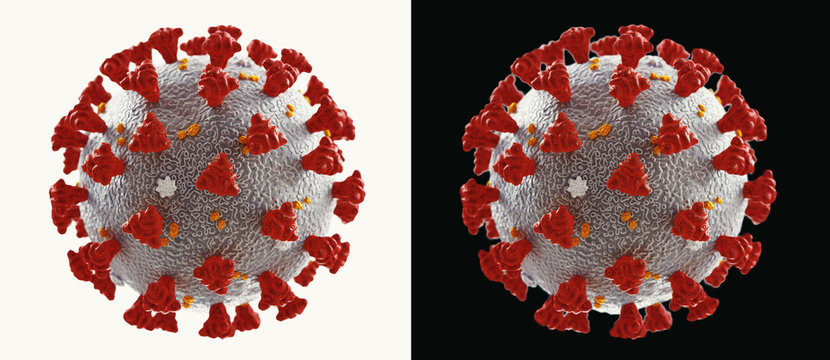 Coronavirus microscopic view. Floating influenza virus cells. Dangerous asian ncov corona virus, SARS pandemic risk concept. 3d rendering