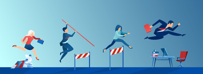 Vector of business people conquering adversity, overcoming obstacles