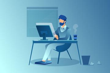 Vector of a creative freelancer man working on his desktop