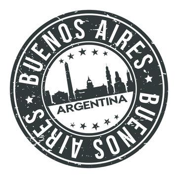 Buenos Aires Argentina America Stamp. Logo Icon Symbol Design Skyline City Vector.