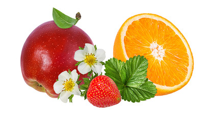 Fototapete - apples,orange and strawberries isolated on white background