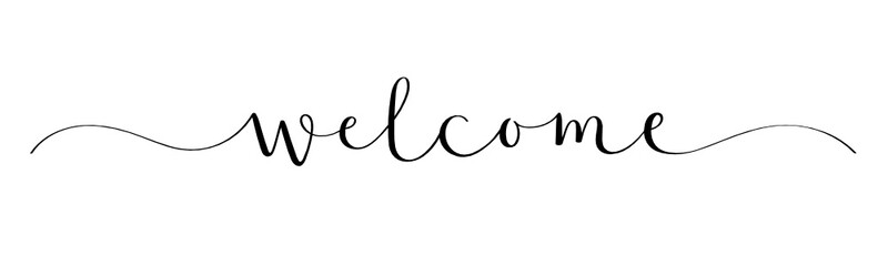 WELLCOME black vector brush calligraphy banner with swashes