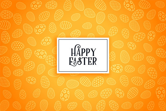happy easter eggs yellow pattern background design