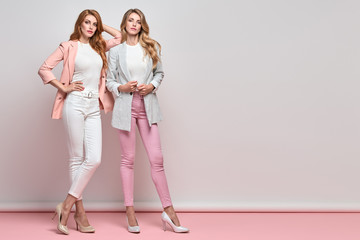 Wall Mural - Fashion. Two beautiful woman, stylish clothes, trendy hair, make up. Well dressed model girl, friends on blue. Slim fashionable blonde, redhead lady in pink fashion jacket, skinny, beauty concept.