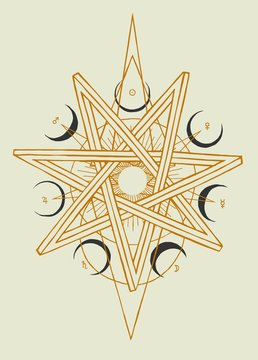Seven pointed star heptagram with moons and planets symbols occult illustration.